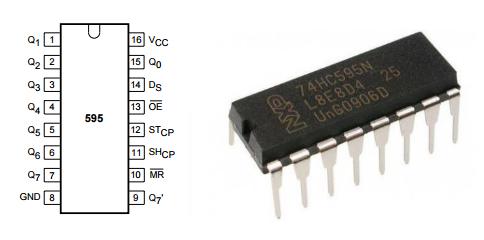 Назначение выводов сдвигового регистра 74HC595 и внешний вид в выводном корпусе DIP-16