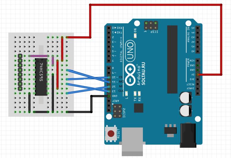Схема подключения сдвигового регистра 74HC595 к Arduino
