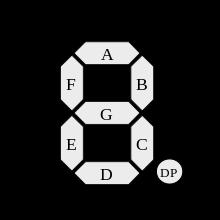Обозначение сегментов индикатора латинскими буквами
