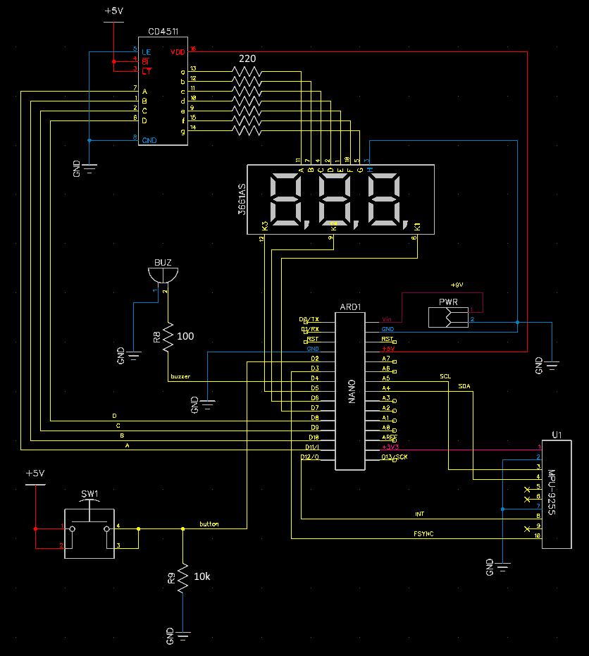 Схема электронного компаса на MPU-9255 и Arduino