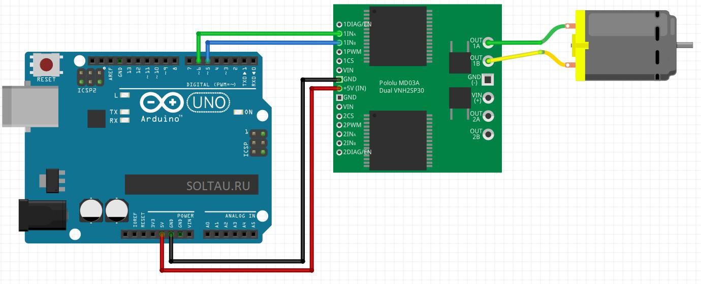 Схема подключения коллекторного двигателя к Arduino с помощью драйвера двигателей