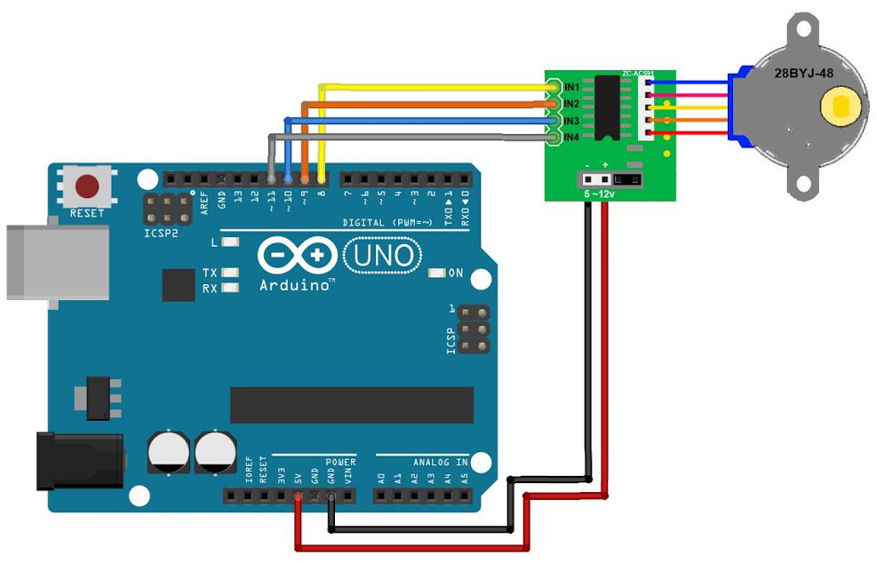 Схема подключения шагового двигателя с драйвером ULN2003 к Arduino